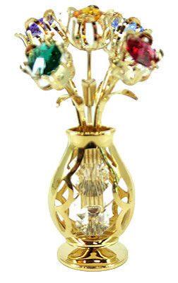 Фигурка декоративная сваровски Ваза с букетом