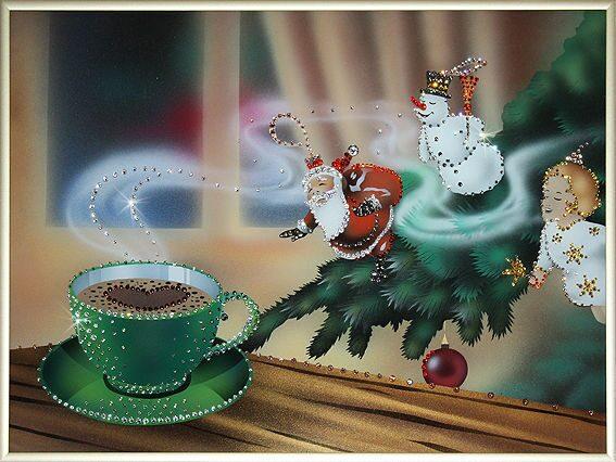 Картина с кристаллами Swarovski  Новогодняя история