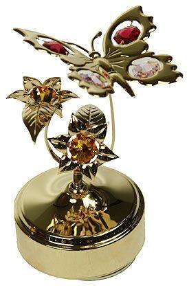 Декоративная композиция сваровски на музыкальной подставке  Бабочка на цветке