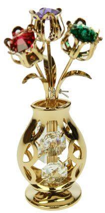 Фигурка декоративная сваровски Ваза с букетом цветов