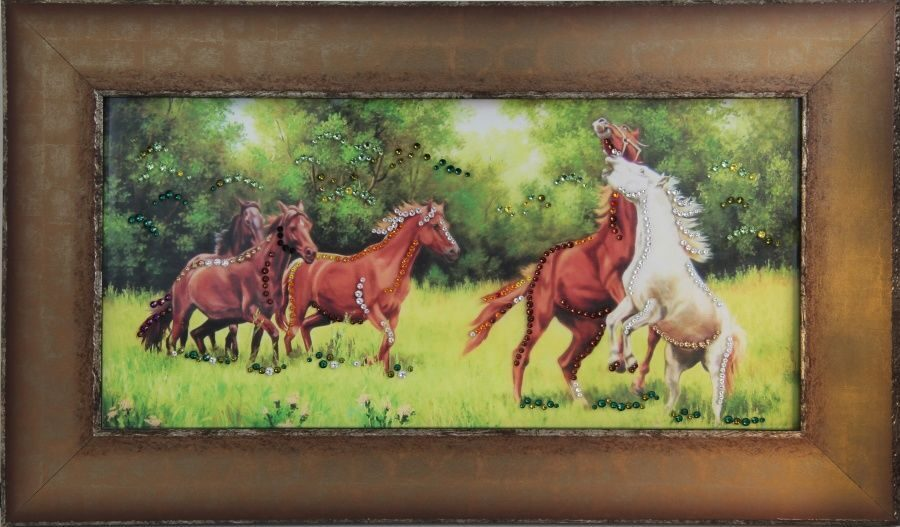 Картина Swarovski Лошади