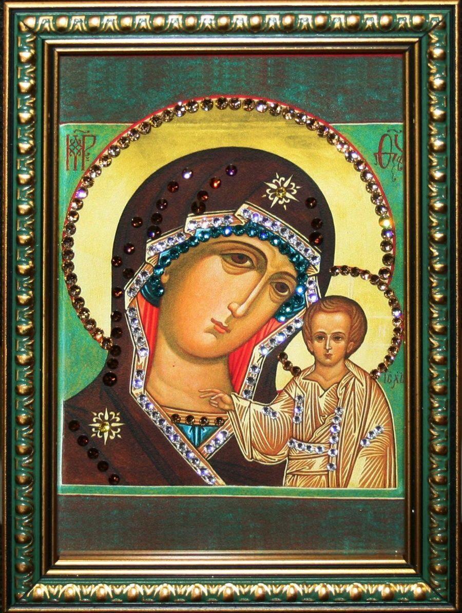Икона настольная с кристаллами сваровски Божией Матери Казанская