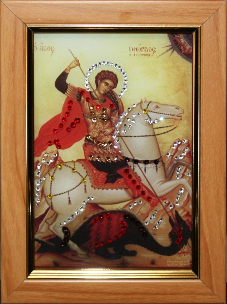 Икона настольная с кристаллами сваровски Георгий Победоносец