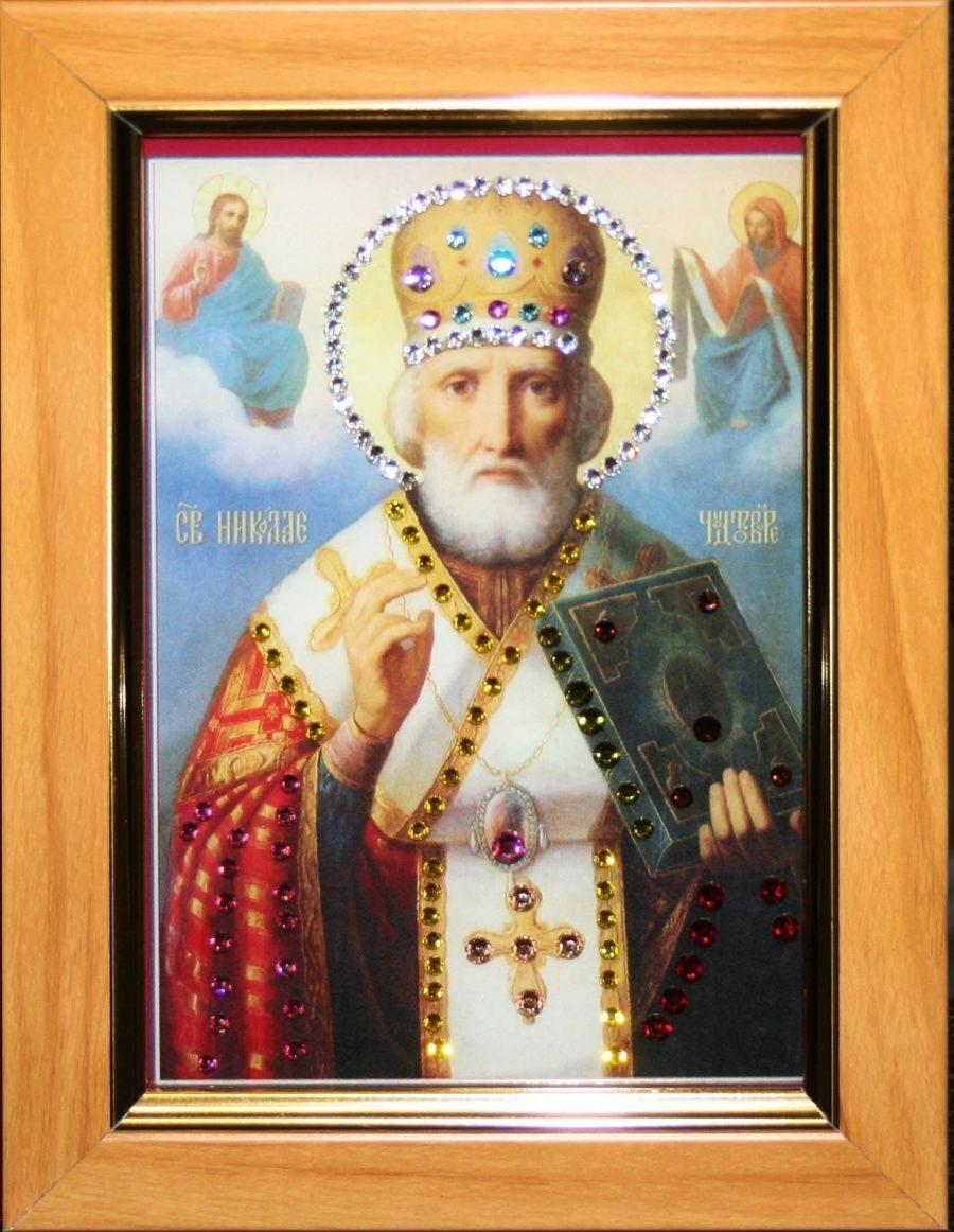 Икона настольная с кристаллами сваровски Николай Чудотворец