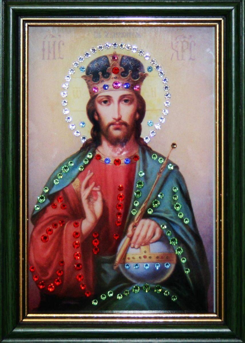 Икона настольная с кристаллами сваровски Христос Вседержитель