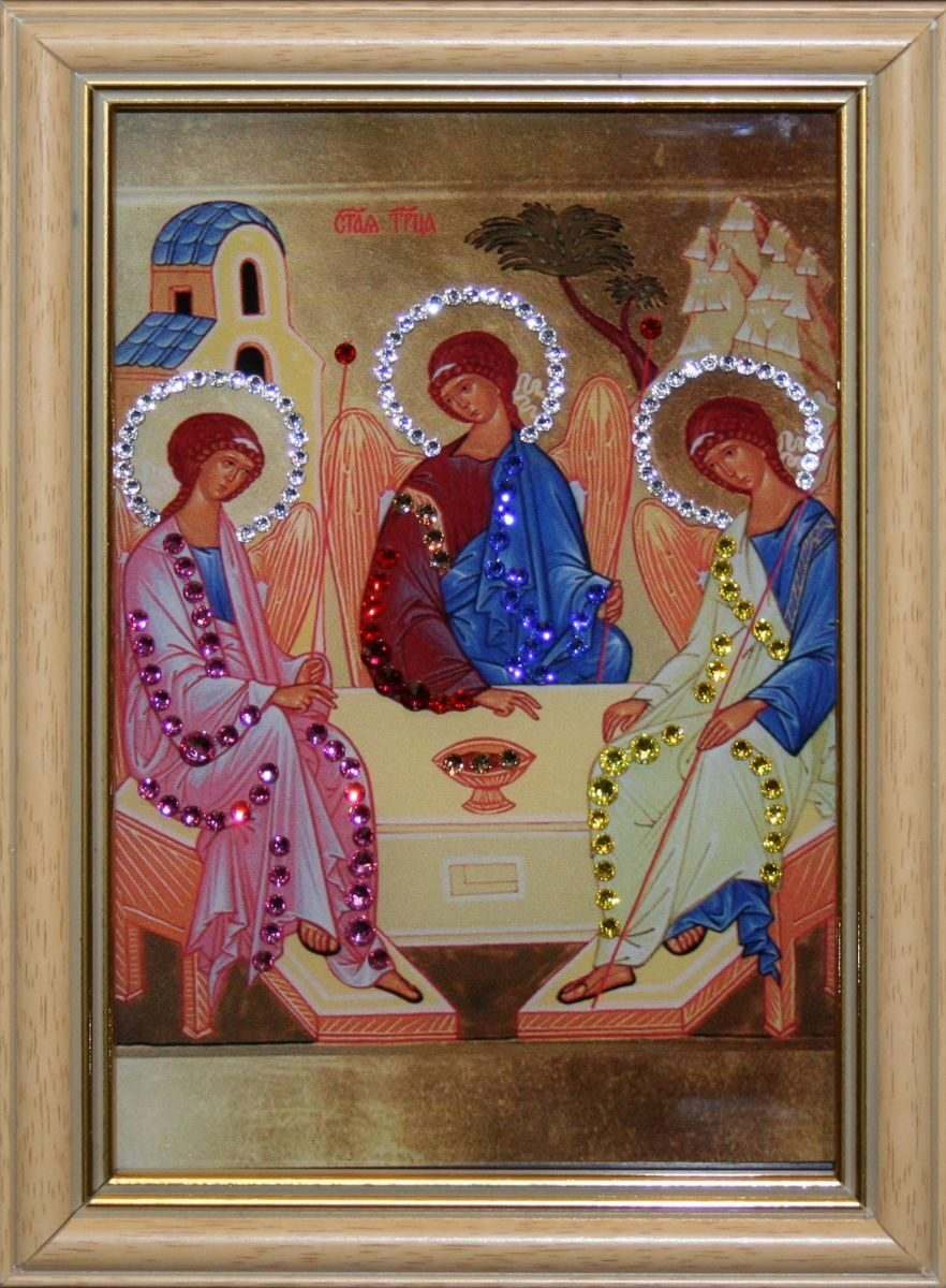 Икона настольная с кристаллами сваровски Святой Троицы