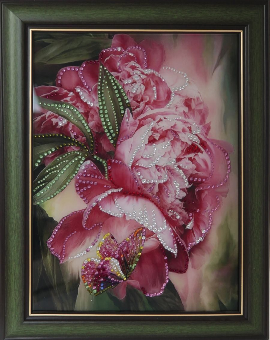 Картина с кристаллами Swarovski Цветы пионов