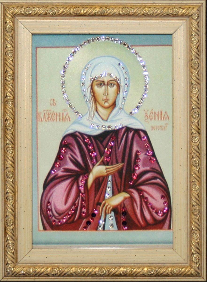 Икона настольная с кристаллами сваровски Ксения Петербургская