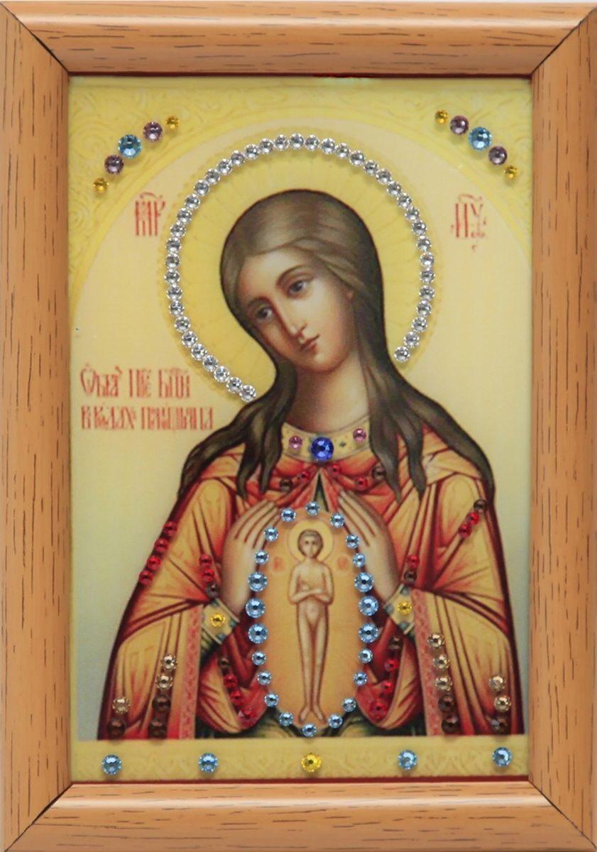 Икона Божией Матери с кристаллами сваровски Помощница в родах настольная