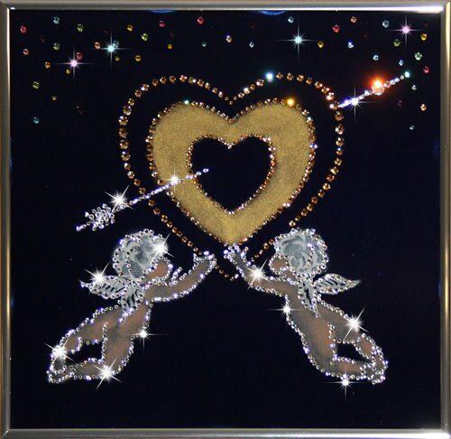 Картина с кристаллами Swarovski  Золотое сердце
