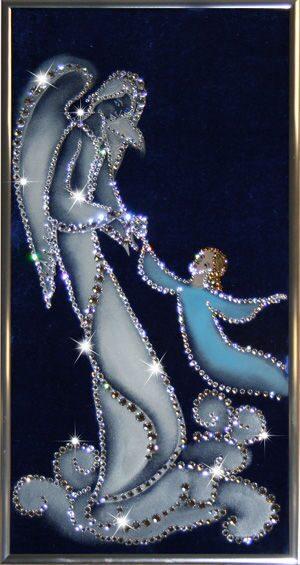 Картина с кристаллами Swarovski  Ангел-хранитель