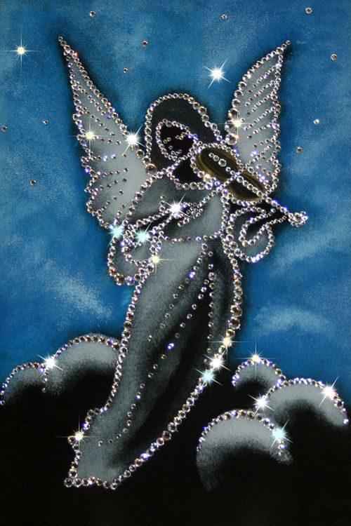 Картина с кристаллами Swarovski  Ангел