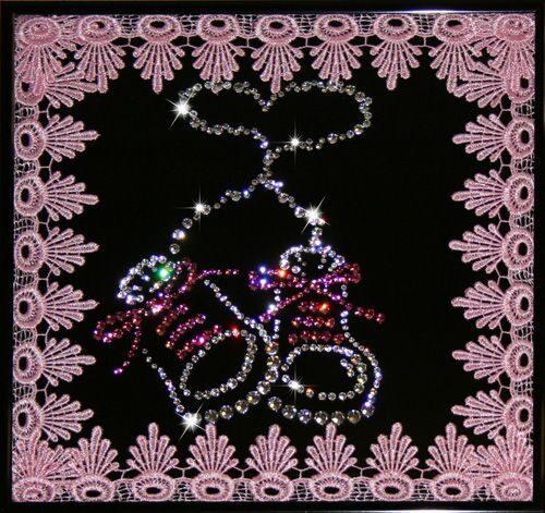 Картина с кристаллами Swarovski  На рождение
