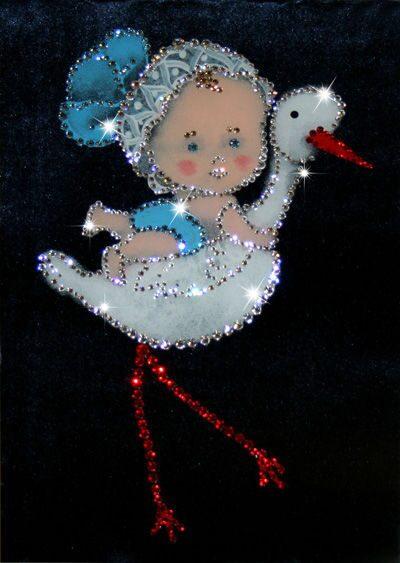 Картина с кристаллами Swarovski  С днем рождения