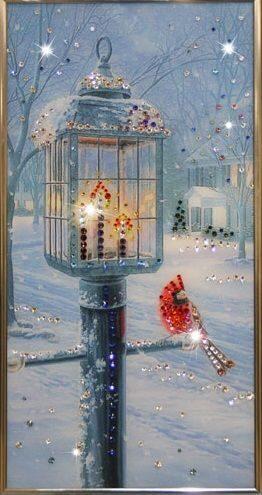 Картина с кристаллами Swarovski  Рождественский вечер