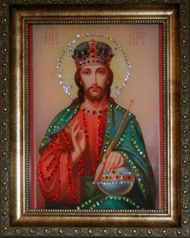 Икона с кристаллами сваровски  Христос Вседержитель