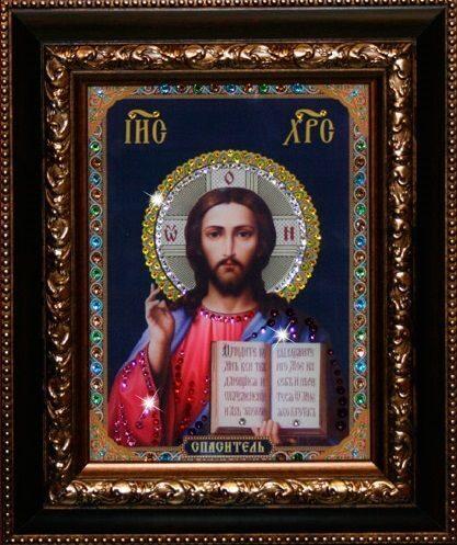 Икона с кристаллами Swarovski Христос Спаситель