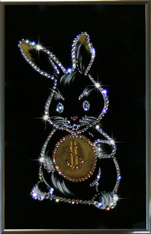 Картина с кристаллами Swarovski  Кролик-бакс