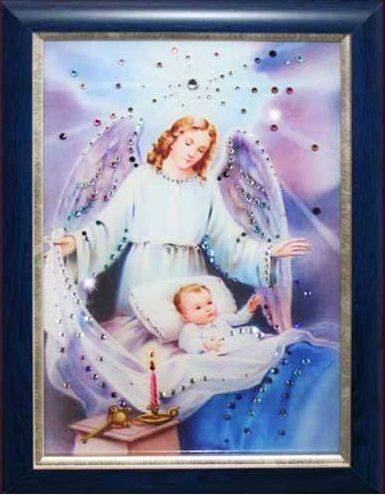 Икона с кристаллами сваровски  Ангел-Защитник