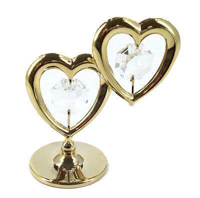 Декоративная композиция сваровски Два сердца