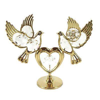 Фигурка декоративная сваровски Голуби с сердцем светлые