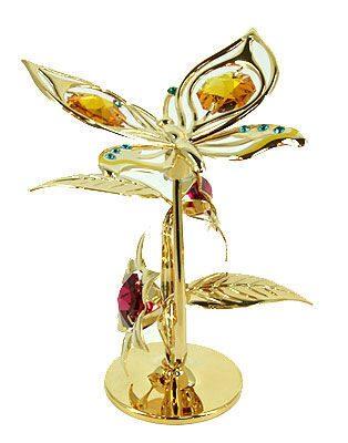 Декоративная композиция сваровски Бабочка с цветком