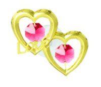 Фигурка декоративная сваровски Двойное сердце на присоске