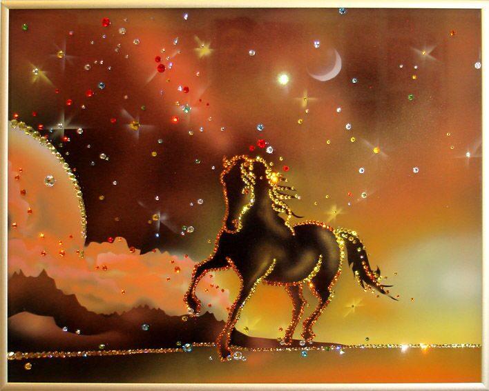 Картина с кристаллами Swarovski  Конь на закате