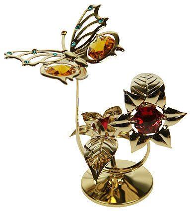 Декоративная композиция сваровски Бабочка на цветке