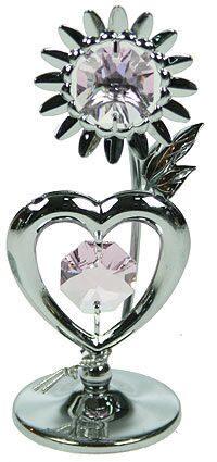 Фигурка декоративная сваровски Сердце серебро