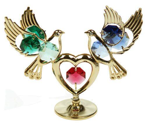 Фигурка декоративная сваровски Голуби с сердечком