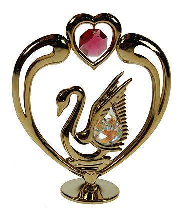 Фигурка декоративная сваровски Лебедь с сердцем