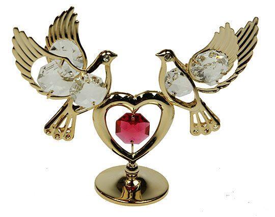 Фигурка декоративная сваровски Голуби с сердцем