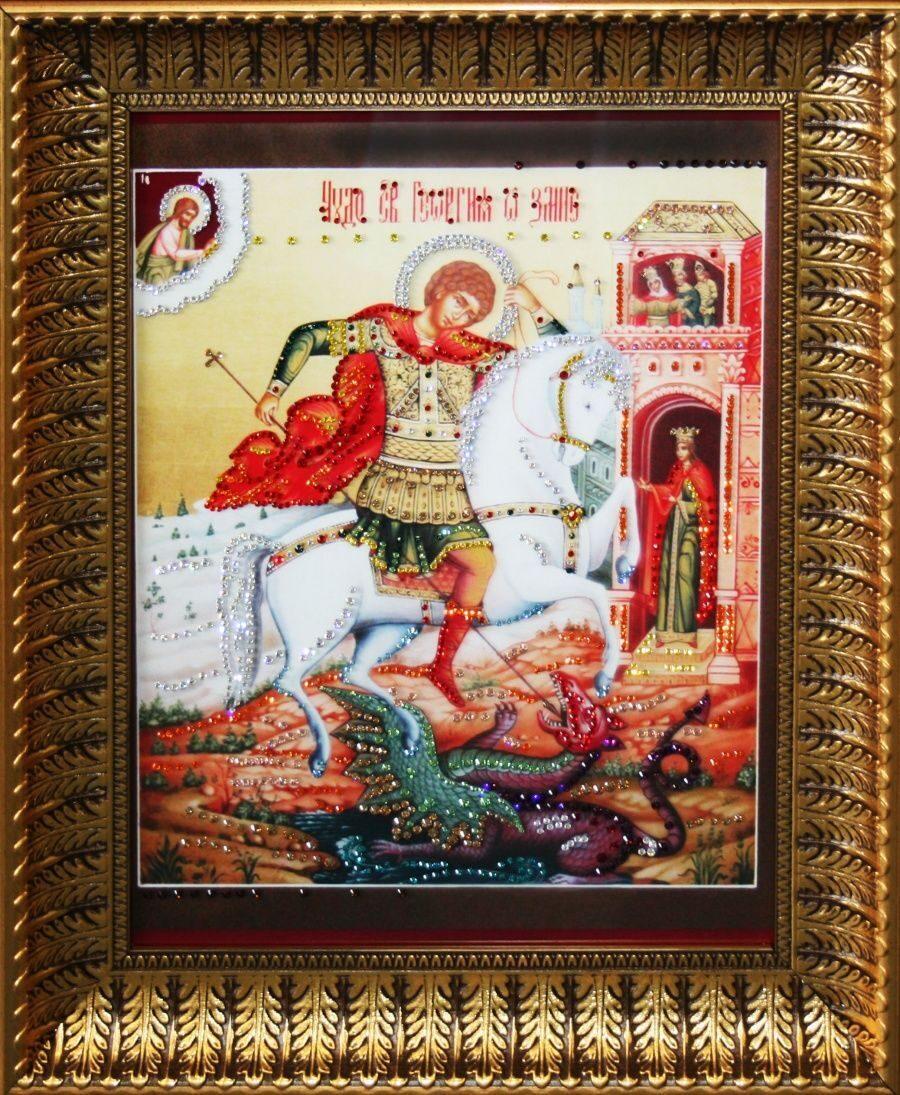 Икона с кристаллами Swarovski Георгий Победоносец большая