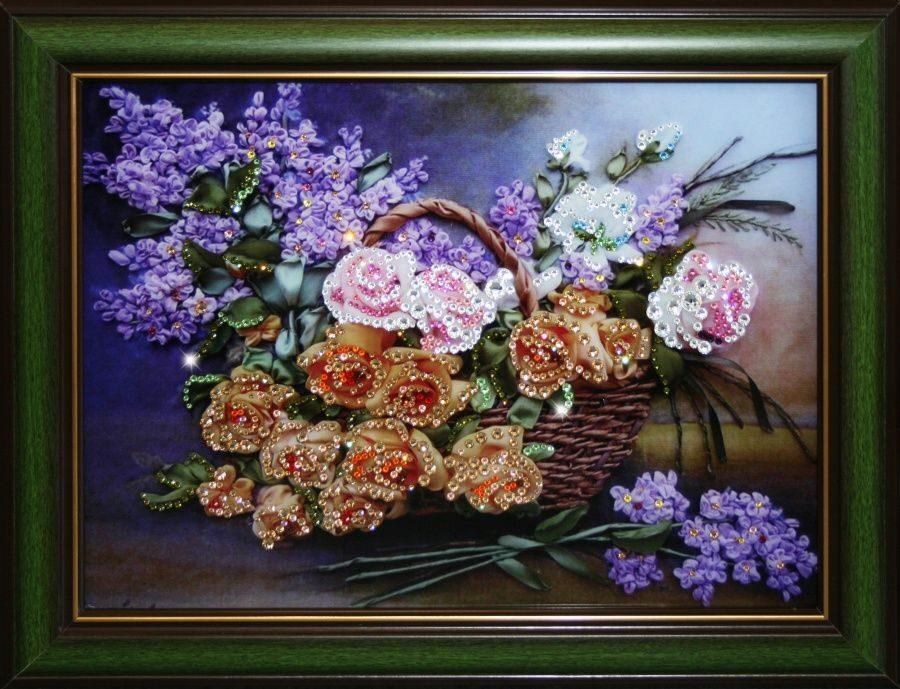 Картина с кристаллами Swarovski Натюрморт: Цветы