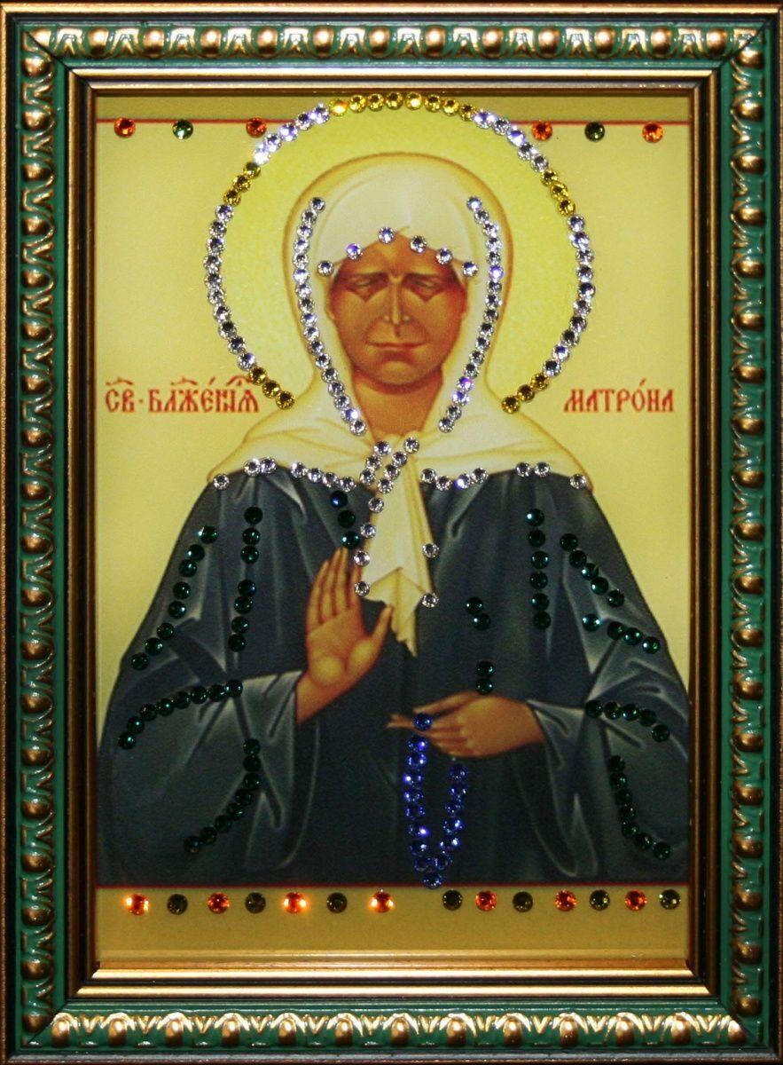 Икона настольная с кристаллами сваровски Матрона Московская