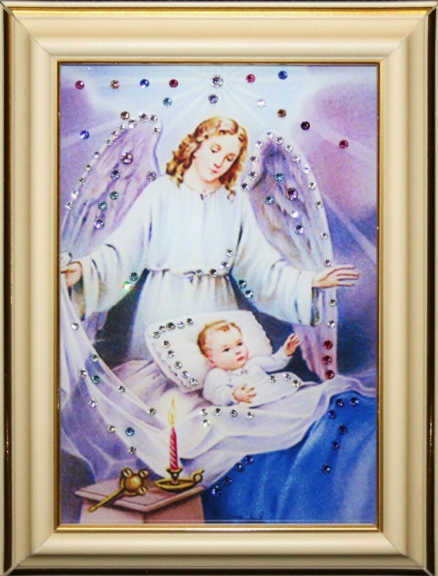 Икона настольная с кристаллами сваровски Ангел-Защитник