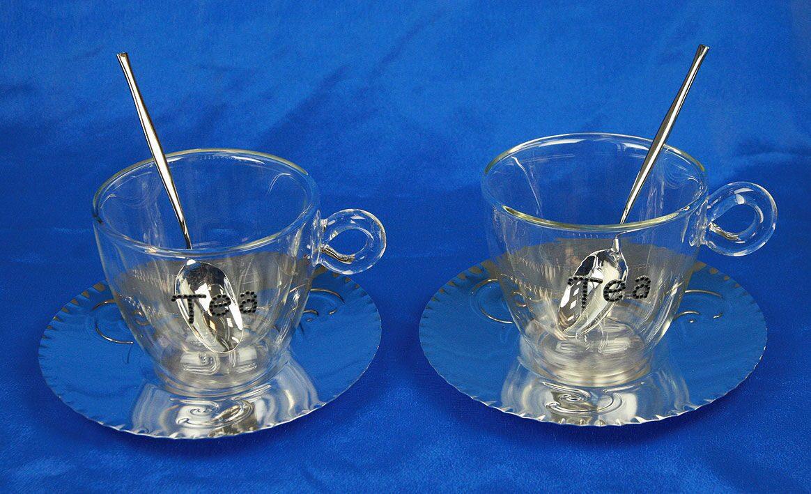 Подарочный набор для чая на 2 персоны в серебре  Bernle