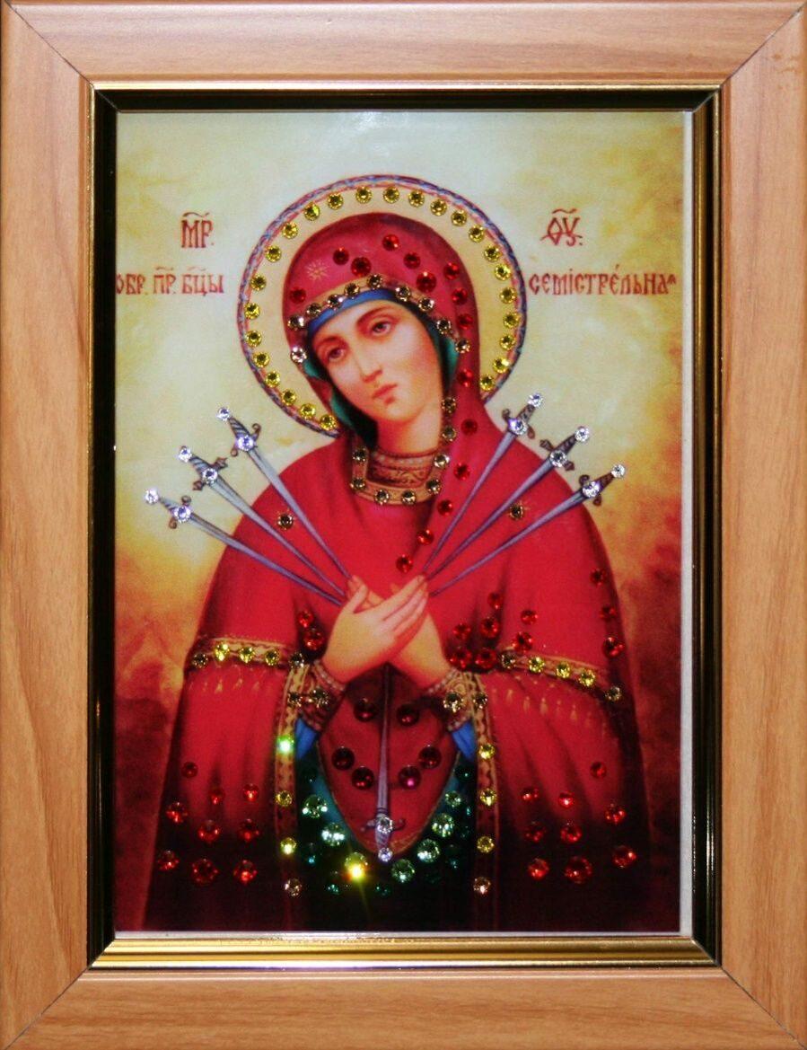 Икона настольная с кристаллами сваровски Семистрельная