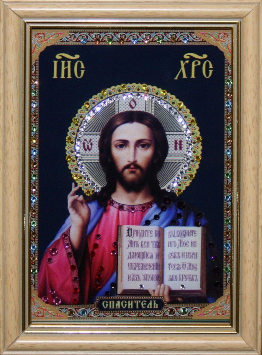 Икона настольная с кристаллами сваровски Христос Спаситель