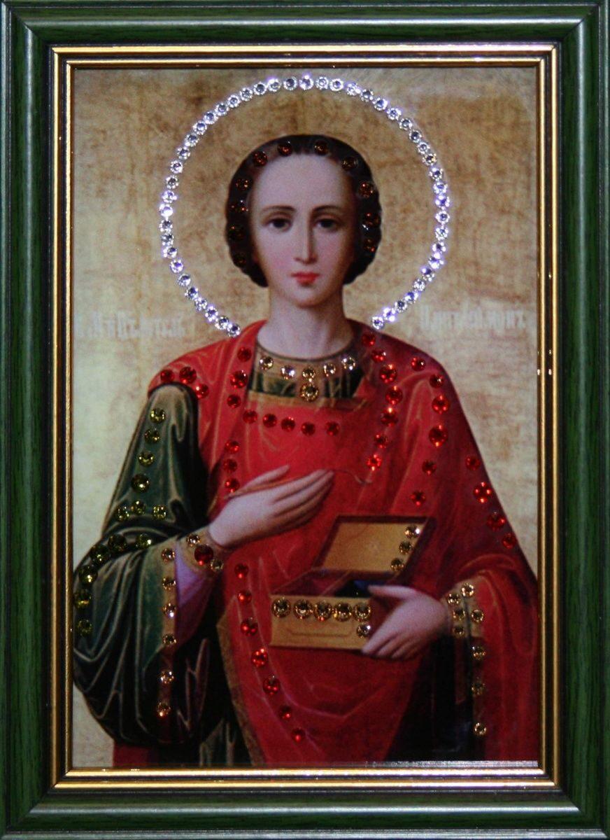 Икона настольная с кристаллами сваровски Пантелеймон