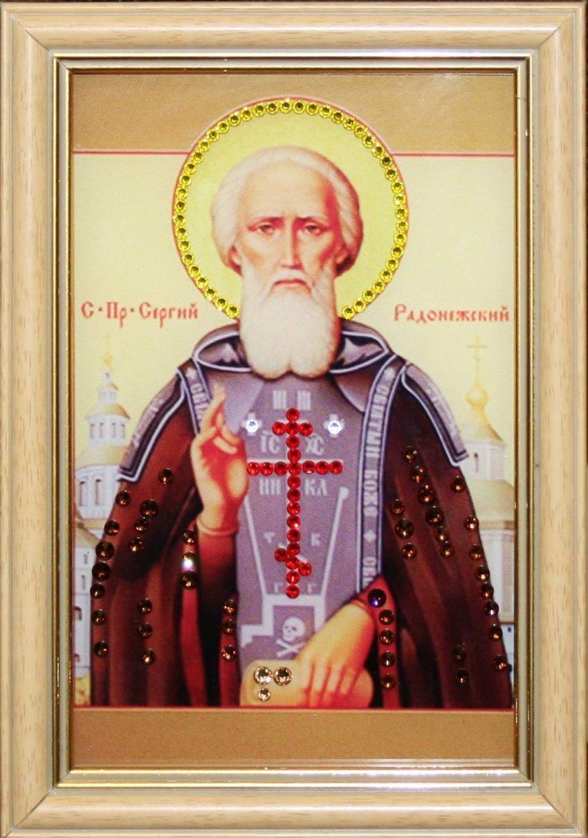 Икона настольная с кристаллами сваровски Сергия Радонежского