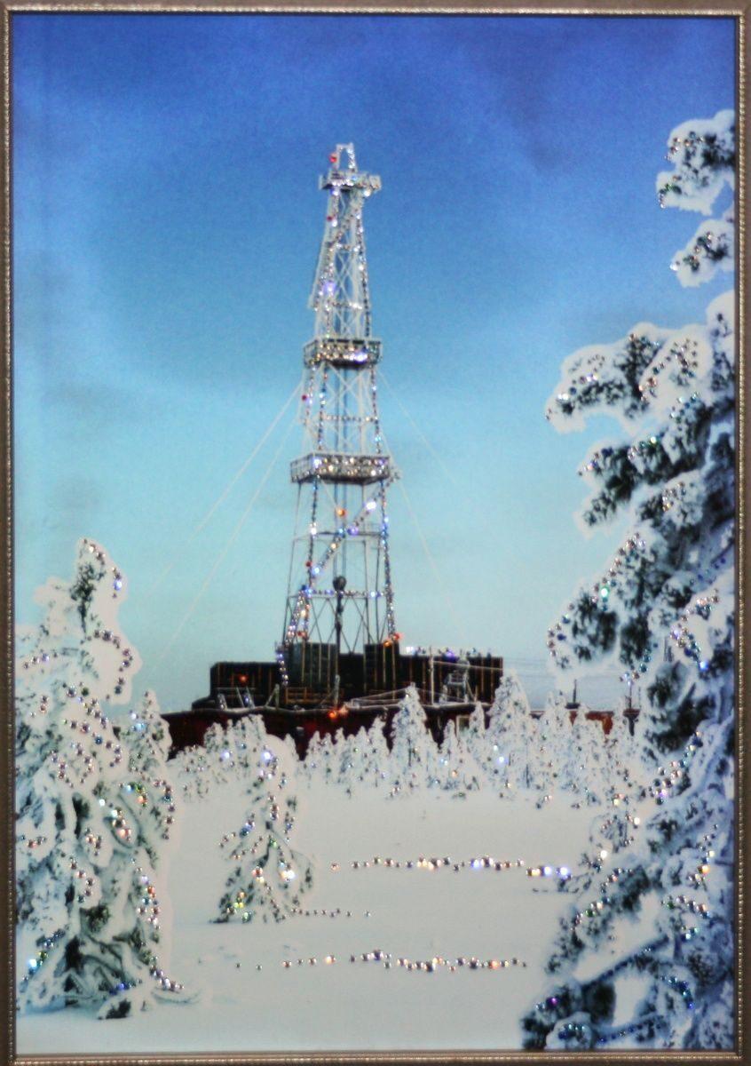 Картина с кристаллами Swarovski Нефтяная вышка