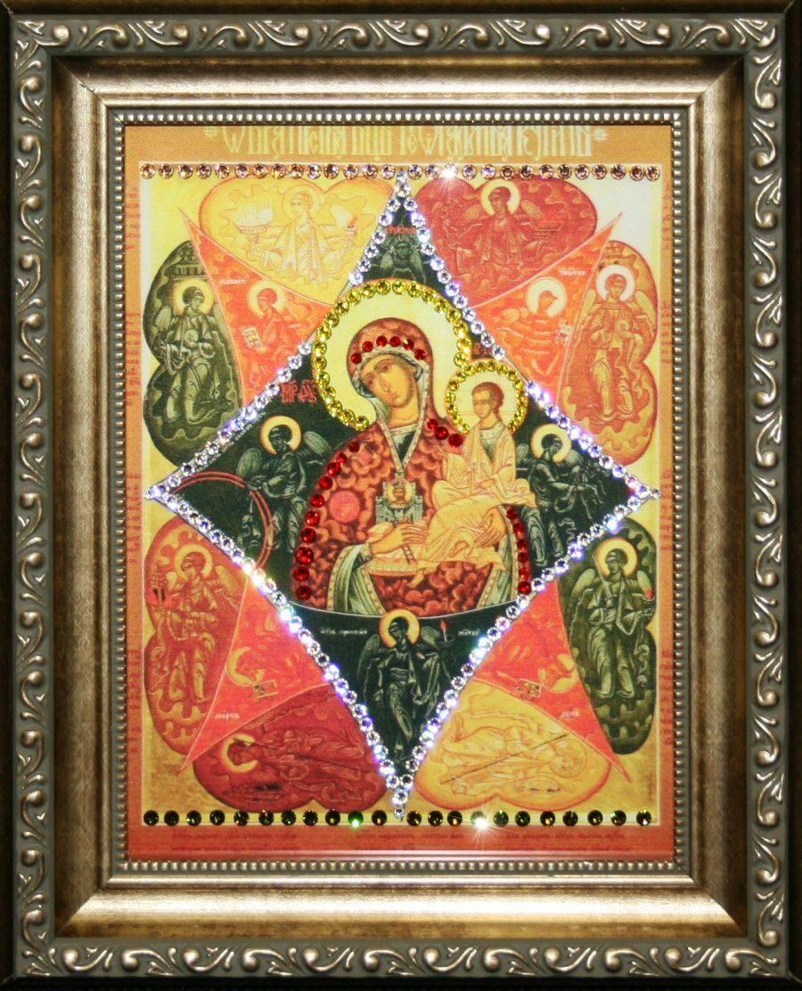 Икона Божией Матери с кристаллами Swarovski Неопалимая купина