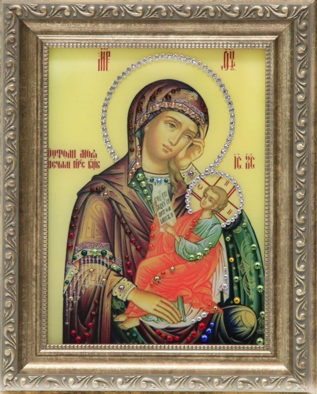 Икона Божией Матери с кристаллами Swarovski Утоли мои печали