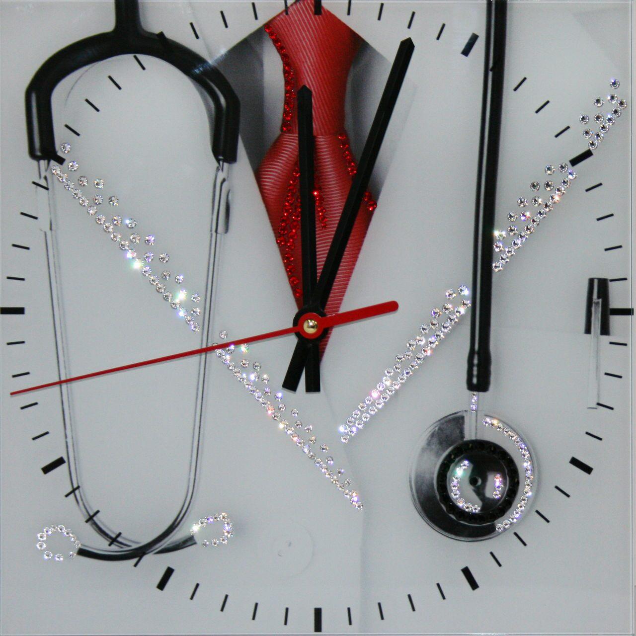 Настенные часы с кристаллами Swarovski  Доктор