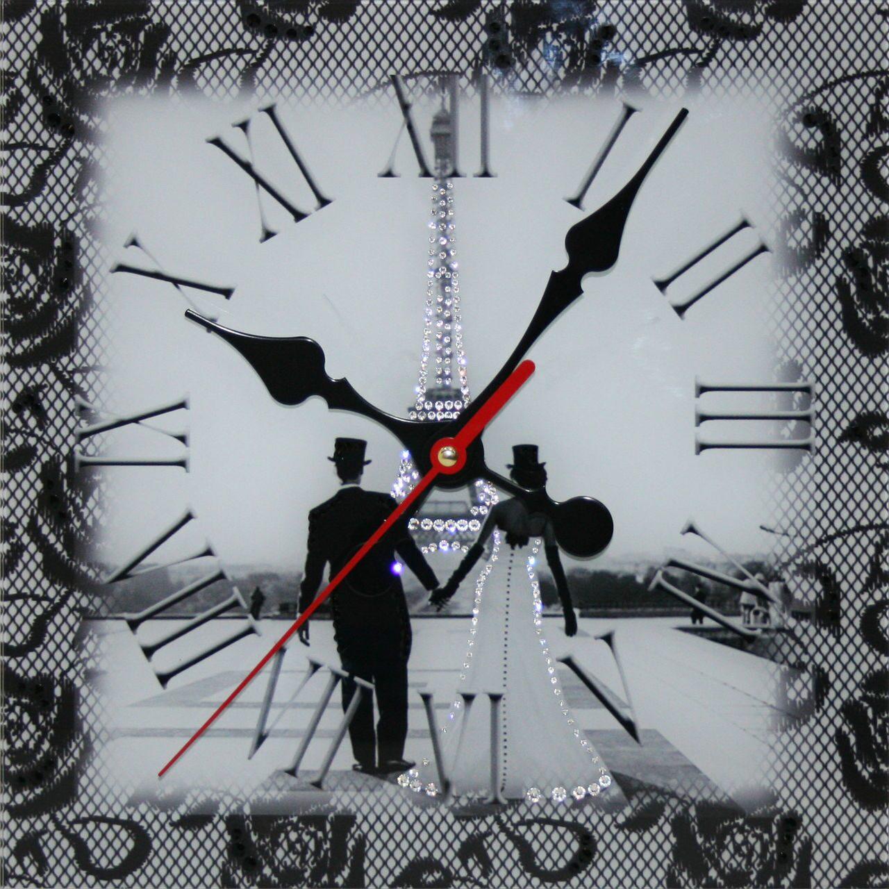 Настенные часы со стразами Swarovski  Свадебный Париж