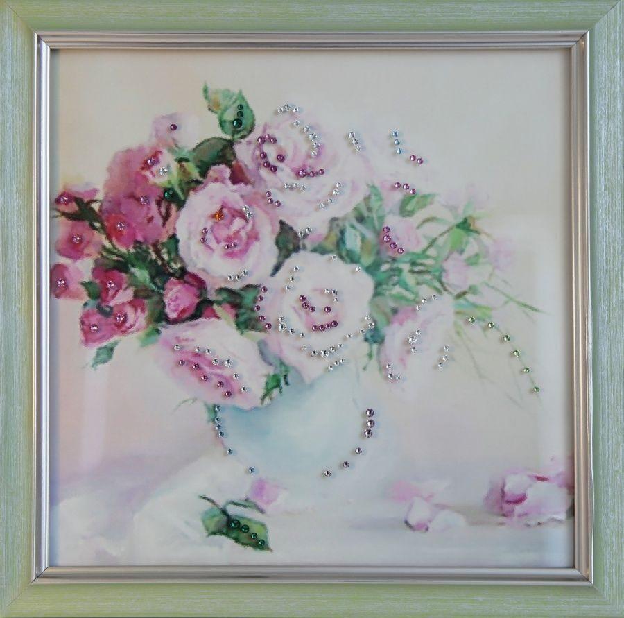 Картина с кристаллами сваровски Чайные розы