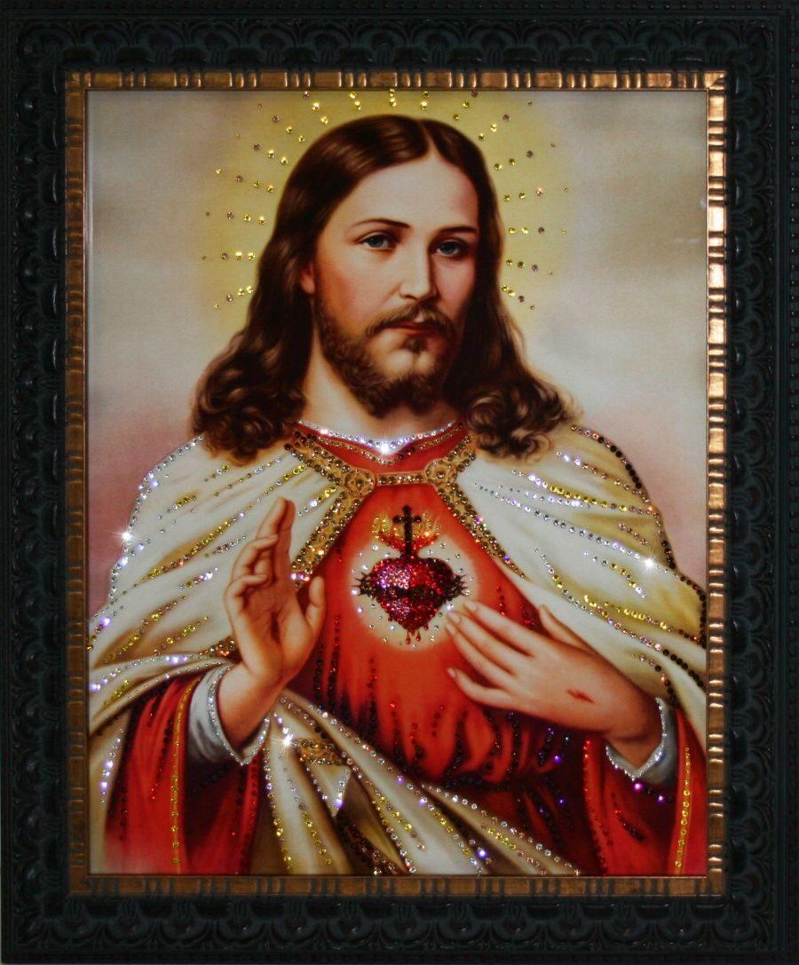 Икона с кристаллами сваровски Сердце Христа