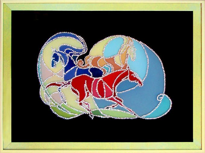Картина с кристаллами Swarovski Кони. Витражная палитра